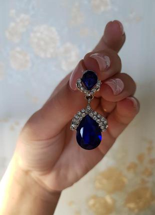 Синие серьги zara