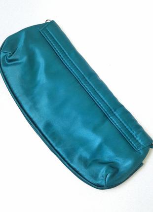 Атласный клатч, цвет морской волны/изумрудны2