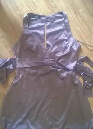 Невероятно красивого цвета женственное шелковое платье цвета тауп asos (14р)