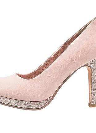 Розовые замшевые туфли marco tozzi