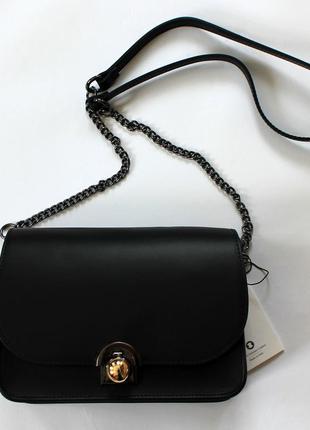 Итальянская кожаная (натуральная кожа) черная сумка кроссбоди, италия