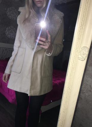 Пальто zara 50% шерсти