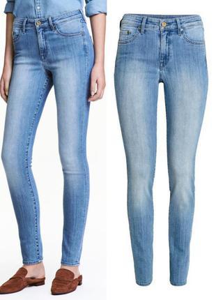 Светлоголубые джинсы h&m,голубые плотные джинсы с средней посадкой1 фото