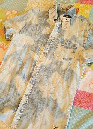 Гавайская рубашка jack & jones с коротким рукавом, белая