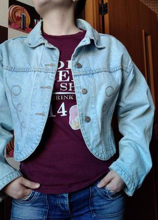 Винтажная короткая джинсовка свободного кроя оверсайз