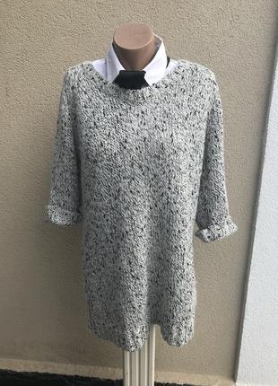Удлиненная,объемная,вязанная кофта,свитер,туника,шерсть,мохер,хлопок,акрил-меланж. h&m