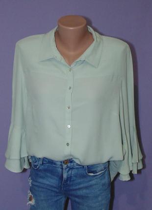 Бледно-зеленая блузочка с валанами на руках 14 размера principles petite