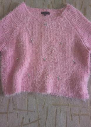 Укороченный свитер с камушками мохнатый джемпер ворсистый свитер