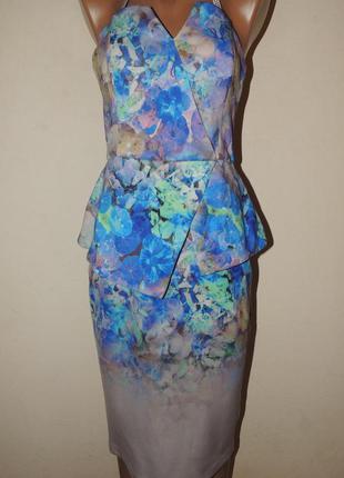 Цветочный принт платье миди
