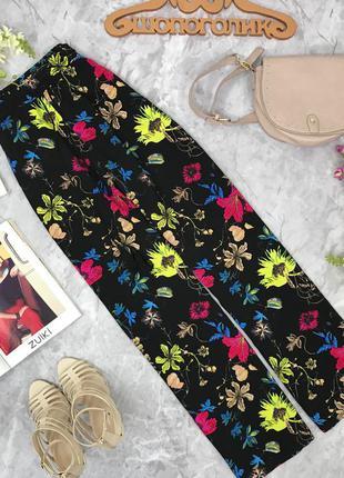 Широкие брюки из вискозы с ярким цветочным принтом   pn1812109  h&m