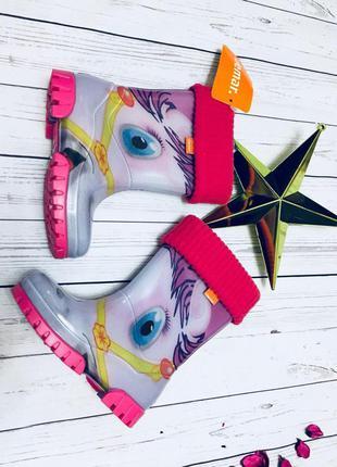 Новые утепленные резиновые сапоги для девочки от demar