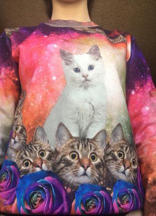 Модный свитшот с котами bershka
