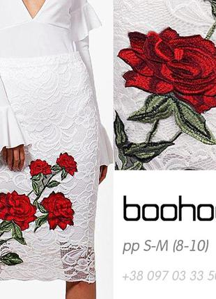 🌹 узкая юбка-миди-карандаш кружевная с вышивкой boohoo оригинал 8-10, s-m, 42-46