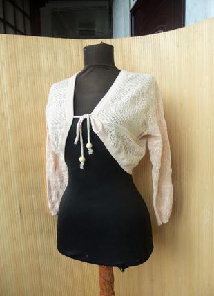 Ажурная  персиковая вязанная кофта / болеро s/m