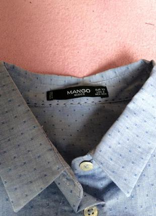Голубая рубашка mango basic