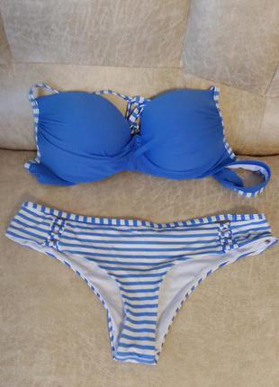 Синий купальник электрик в полоску