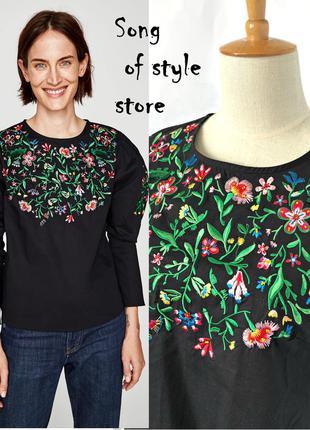 Zara блуза с цветочной вышивкой и молниями