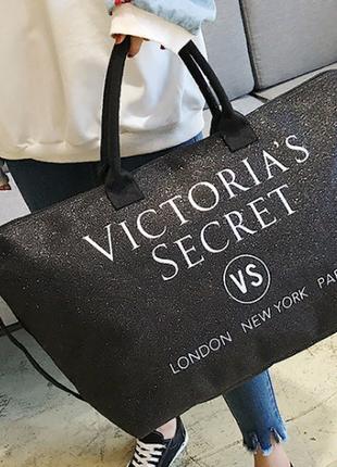 Черная сумка  victorias secret с блестками
