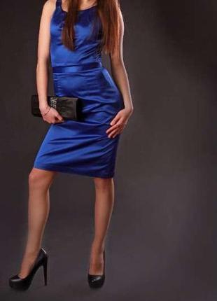Платье вечернее миди синее атласное блестящее элегантное нарядное