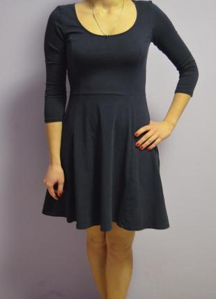 Синее платье 3/4 рукав