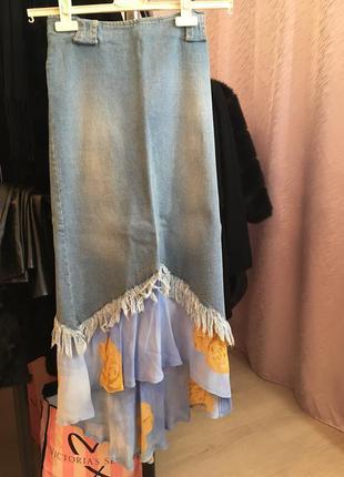 Юбка длинная макси в пол джинсовая летняя шифон легкая стильная высокая