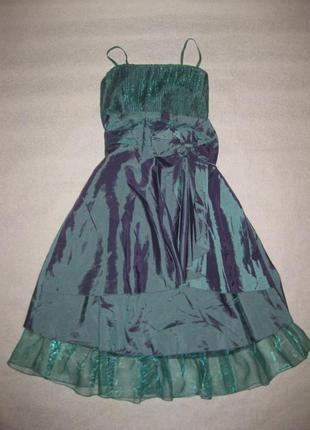 Размер s-m, красивенное платье из атласа и органзы для особых случаев, просто шикарное!