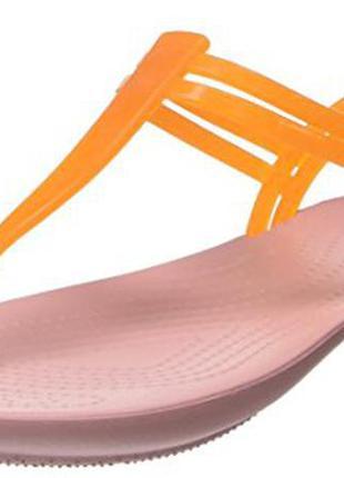 Босоножки сандалии crocs isabella t-strap jelly sandal раз. w10 - 27,7см