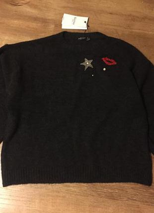 Bershka крутой свитшот / свитер оверсайз  от bershka р. l с гламурным декором !!!