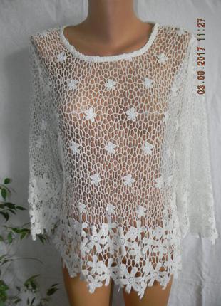 Белая кружевная блуза george
