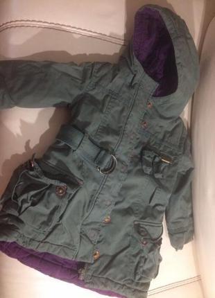 Куртка катимини парка catimini франция 86-92 пальто хаки1 фото