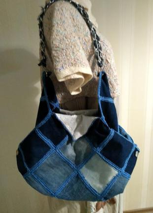 Эксклюзивная джинсовая сумка - торба