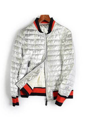 Серебристая куртка демисезонная модная