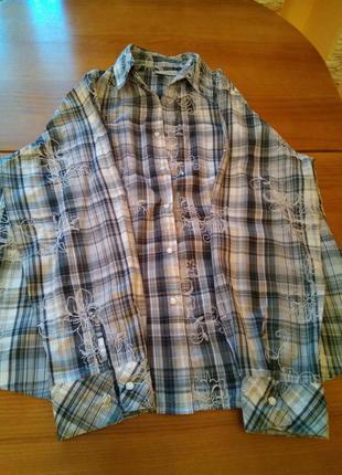 Рубашка серая с узорами на кнопках венгрия l, xl, xxl