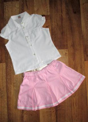 Нарядный летний комплект: блузка и юбка tu, рост 104 см