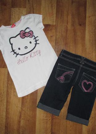 Летний комплект: футболка и стильные шорты, рост 134 denim