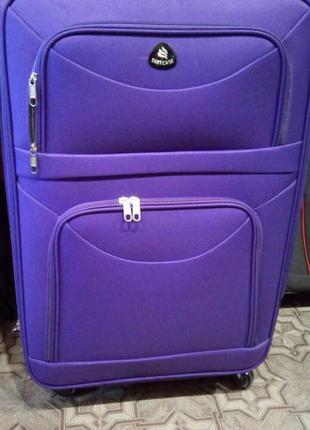Акция! большой чемодан текстильный 4 колеса польша валіза велика фіолетова