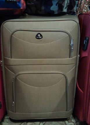 Акция! текстильный большой чемодан на 4-х колесах валіза велика 4-х колесна