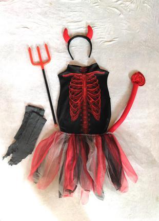 Карнавальный костюм чертовка чертенок 9 10 лет на хэллоуин