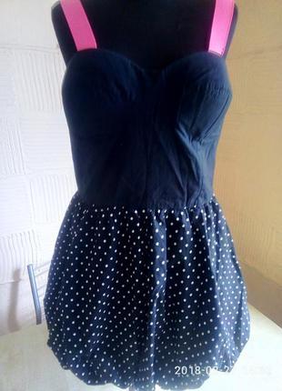 Корсетное платье-сарафан в актуальный горошек.g:21
