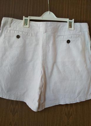 Белые льняные шорты2