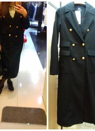 Черное пальто кашемир новое