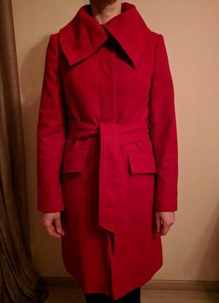 Вишневое пальто шерсть-кашемир