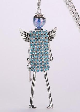 Модный крутой кулон кукла на цепочке ангел подвеска ожерелье голубой
