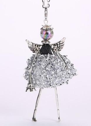 Модный крутой кулон кукла на цепочке ангел подвеска ожерелье черный серебристый