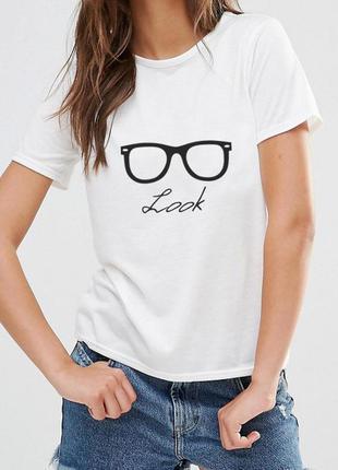 Модная белая футболка look 100% хлопок испания размеры