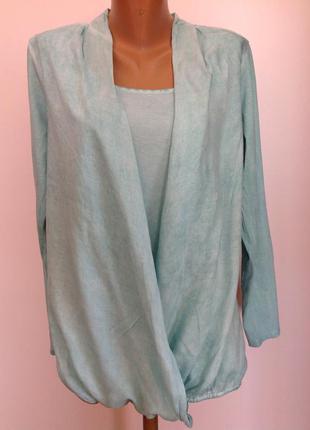 Бирюзовая комбинированная блуза. 44-46/ brend etam
