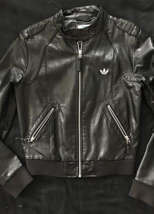 Крутая кожаная куртка adidas originals