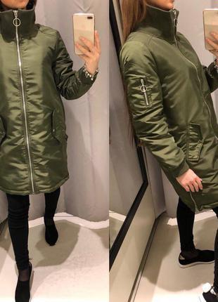 Демисезонная куртка reserved зеленое пальто удлиненная курточка хаки xs-xl