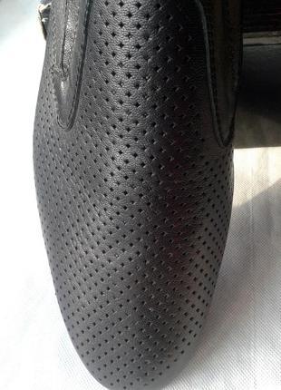 Черные кожаные мужские туфли, сетка, летние vladis