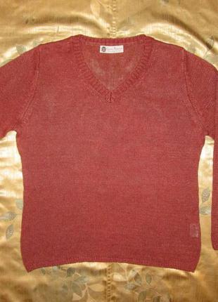 Льняная кофта charles robertson цвет марсала, свитер пуловер 100% лен